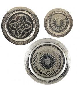 Arabisch für Te-Alpaca aufgezeichnet oder Messing Tablett - verschiedene Durchmesser