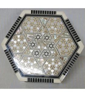 Caja de Taracea con Nacar Hexagonal Forrado Terciopelo