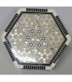 Inlaid wood box with mother-of-Pearl hex lined Velvet