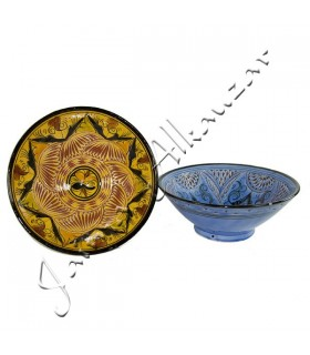Bol Cerámica Labrado - Diseño Arabe -Pintado a Mano - 2 Tamaños