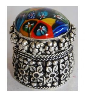 Round Alpaca box with inlay Murano Glass