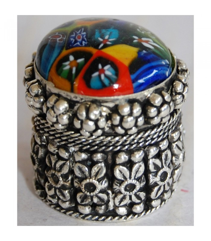 Round Alpaca box with inlay Murano Glass