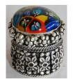 Alpaca Round Box with Murano Glass Inlay