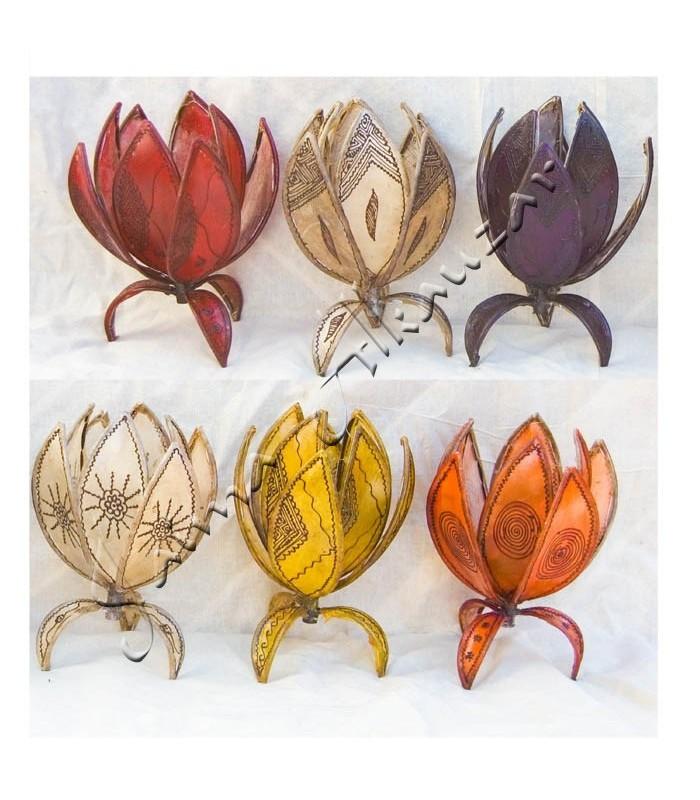 Lámpara Piel Mesa Flor - Varios Colores - Pintando con Henna