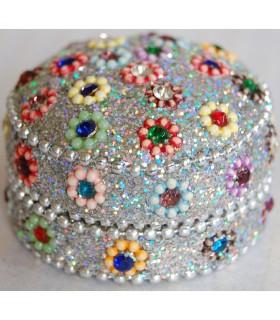 Caja Redonda Brillante con Incrustaciones - Forrada Terciopelo