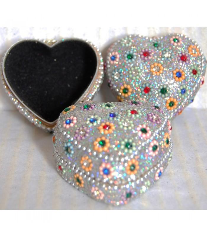 Caja Brillante Corazón - Forrada en Terciopelo