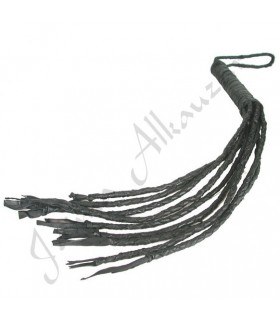 -Artisan braided - 55 cm short black leather whip