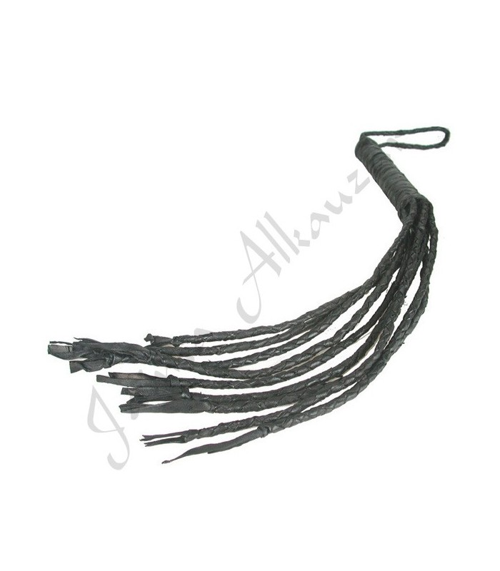 Látigo Cuero Negro Corto - Trenzado Artesano - 55 cm