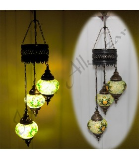 Lamp Turkish - 3 ball glass Murano - mosaic - 75 cm