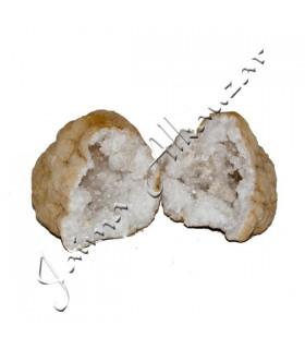 Geode - roche minéraux - quartz - s'ouvre en 2 parties - 15 cm