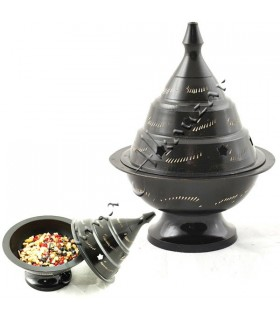 Incense burner censer black - bronze - pierced star