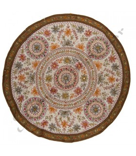 Tapete Decoracion Redondo - Diseño Floral - Algodon
