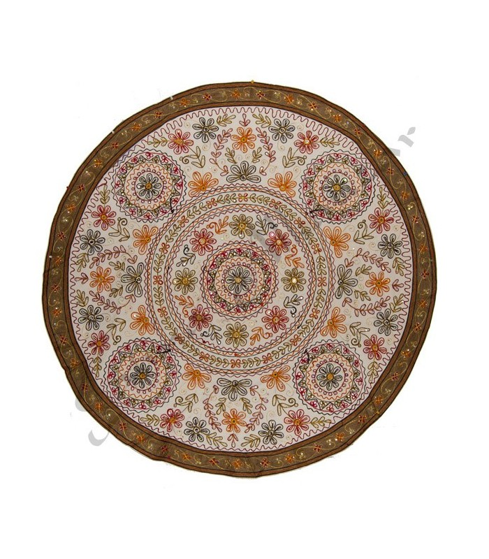 Decorative Rug Round - Floral Design - Cotton