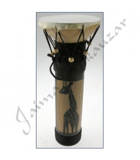 Bamboo - decorated ethnic African drum - 30 x 12 cm