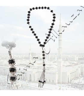 Tasbih beads 33 black - perfect size for travel - 30 cm