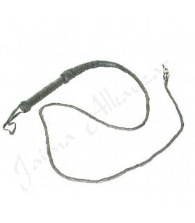 Black Leather Short Whip - Braided Artisan - 220 cm