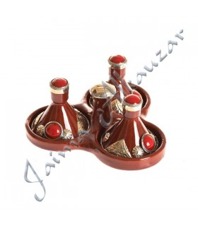 Grocer Triple Mini Tajin decorated - multiple colors-7.5 cm high
