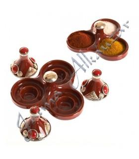 Einkaufsmöglichkeit Triple Mini Tajin dekoriert - mehrere Farben-7,5 cm hoch