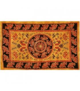 Índia-Cotton Elefante com Pecock-Fabric-Artisan-210 x 240 cm