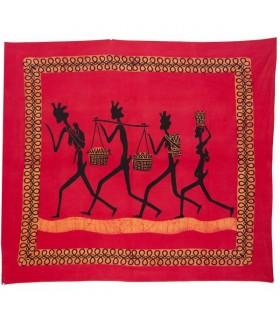 Tela Algodon-India- Tribu 4 Hombres-Artesana-210 x 245 cm