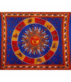 Fabric cotton-India - Sun with Zodiac-Artesana - 210 x 140 cm