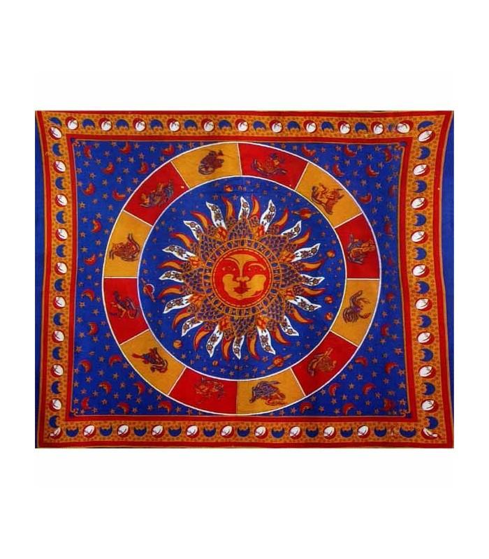 India-Cotton- Sun With Zodiac -Artisan-210 x 140 cm