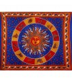 Fabric cotton-India - Sun with Zodiac-Artesana - 210 x 140 cm