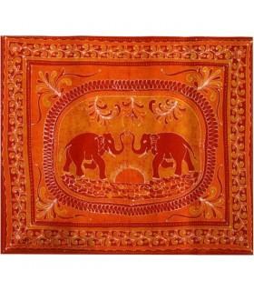 Tela Algodon-India- Elefante Bienvenida-Artesana-240 x 210 cm