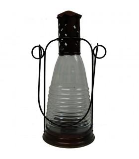 Bouteille bougie lanterne - forge et verre