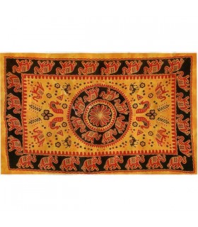Stoff Baumwolle Indien-Elefante Pecock-Handwerker-140 x 210 cm