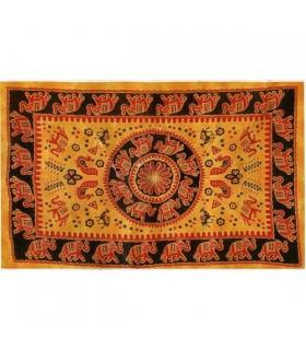 India-Cotton Fabric Elephant Pecock-Artisan-140 x 210 cm