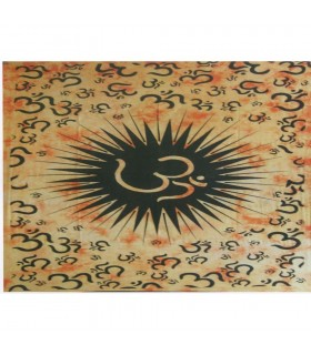 Fabric cotton India-Ohm - hand crafted-210 x 140 cm