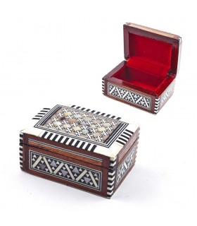 White Rectangular box - shell - velvet - marquetry of Egypt