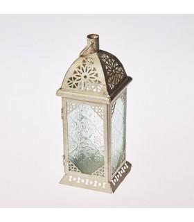 Lanterne d'âge-blanc-Rectangulo-cristal-Trasnparente-26 cm