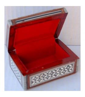 Weiße rechteckige Box - Shell - Velvet - Intarsien von Ägypten