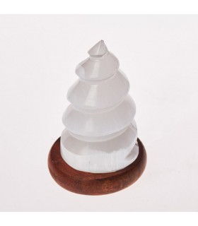 Lámpara Selenita Espiral - USB - Mineral Natural