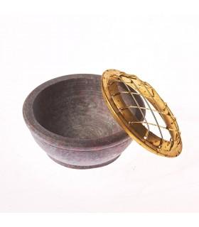Incensário pedra sabão - grades bronze - 6 cm de diâmetro
