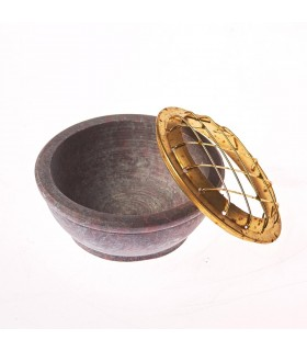 Incensario Piedra Jabonosa - Rejilas Bronce - 6 cm Diámetro