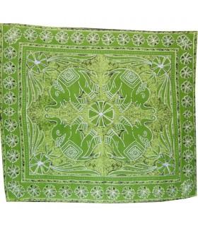 Tessuto cotone idrofilo India - elefanti Floral - artigiano-240 x 210 cm