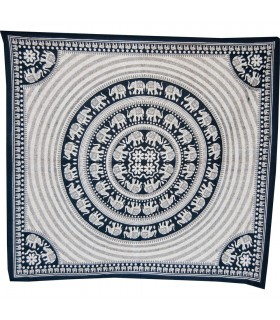 India-Cotton Fabric Elephant Pecock-Artisan-210 x 140 cm