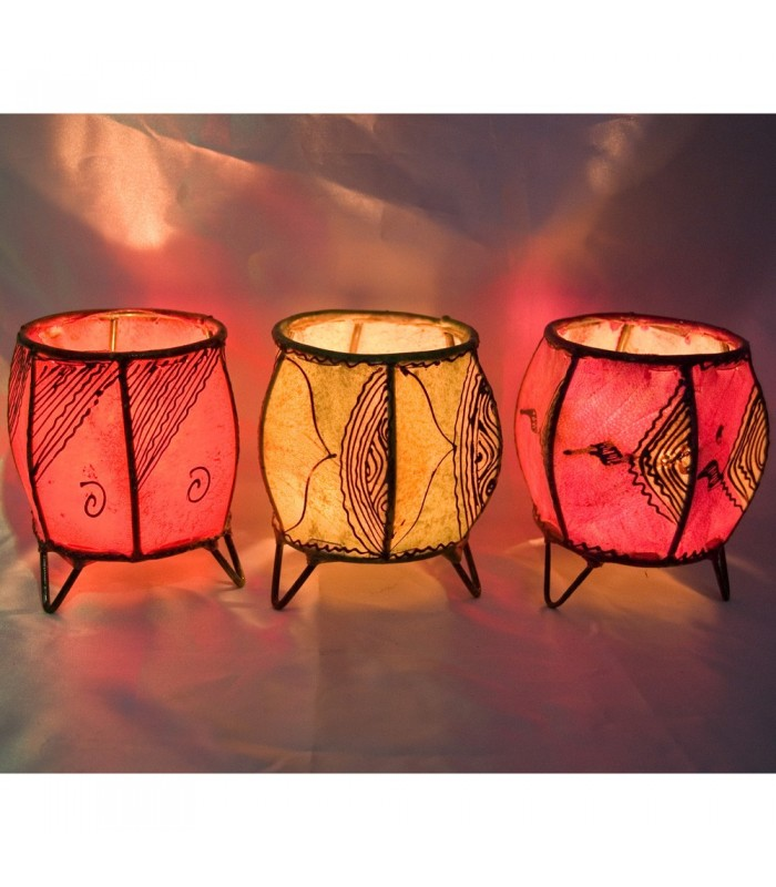 Porta Velas Piel Redondo - Pintado con Henna - Varios Modelos