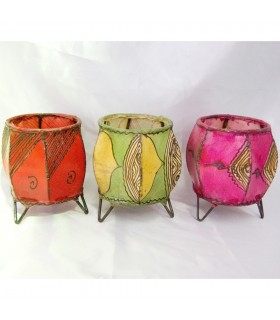 Porta candele rotondo pelle - dipinta con l'henné - vari modelli