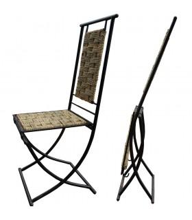 Cadeira dobrável de ferro forjado - assento e traseira de Reed