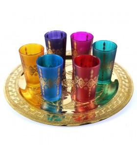 Juego 6 Vasos Arabes - Mano de Fátima - Multicolor - Modelo 6