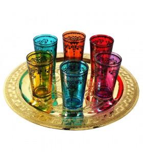 Game 6 tea cups prints - filigree Floral Henna - design Tuareg