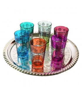 Juego 6 Vasos de Té Grabados -  Filigrana Floral Henna - Diseño Marino