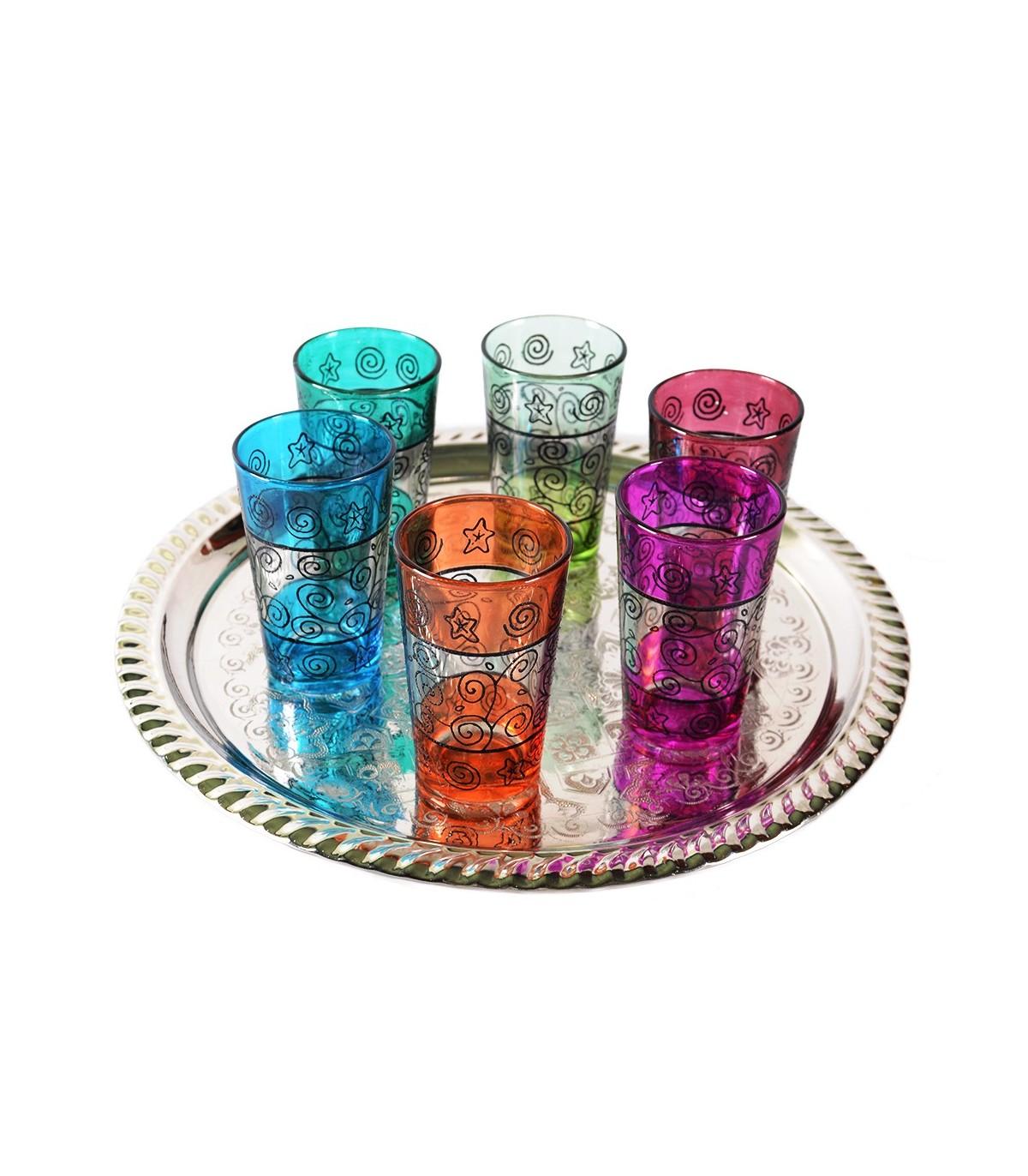 Juego 6 vasos de t grabados filigrana floral henna for Vasos de te