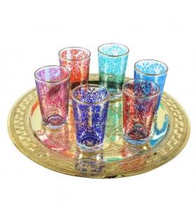 Juego 6 Vasos Arabes - Mano de Fátima - Multicolor - Diseño floral - Modelo 7