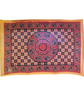 India-Cotton Fabric Elephant Pecock Mosaic-Artisan-140 x 210 cm