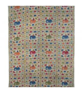 Tessuto di cotone India - elefanti pittura - artigiano-140 x 210 cm